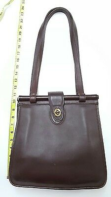 Coach  9866 Chocolate Brown Genuine Leather Shoulder Bag Purse Handbag