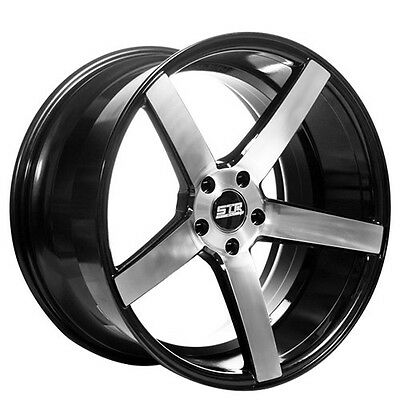 20 Staggered Str Wheels 514 Black With Machined Lip Rims