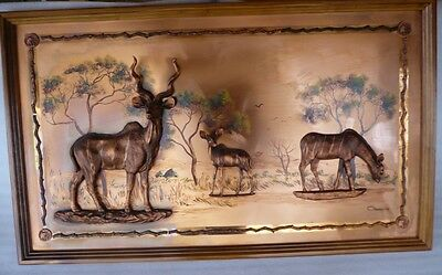 Vintage Retro Large Italian Copper Wall Art Antelopes Framed Picture