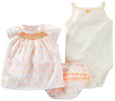 NEW Carter's baby girls 3 piece bodysuit set-9 M (retail $24)