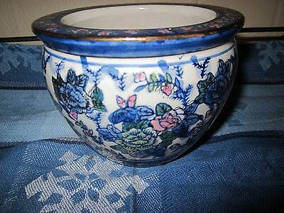 Planter fish Bowl Blue Floral Details Hand Painted