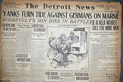 1918 Detroit Newspaper Pages - Quentin Roosevelt Killed in WWI Air Battle