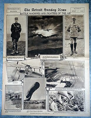 1918 Detroit Newspaper Rotogravure Page - WWI Air Aces Guynemer and Pegoud