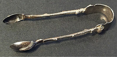 Antique 1889 London Victorian Sterling Silver Sugar Tongs.