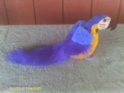 Bright Blue & Yellow Plush Parrot Macaw Bird with Long Tail