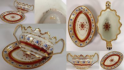 FINE Antique EARLY Porcelain Hand Painted Blue Flower Gold Handled Bowl Tray Set