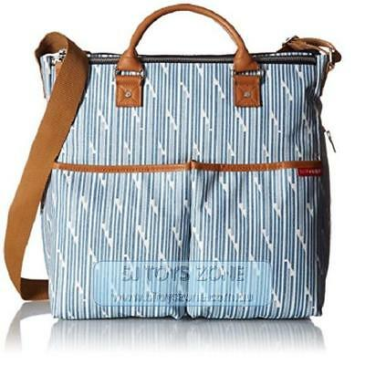 Skip Hop Duo Special Edition Blue Split Stripe Diaper Bag with Changing Pad