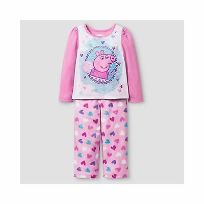 NEW Girls Peppa Pig 3T 2-Piece Pink Long Sleeve Fleece Pajama Sleepwear Set