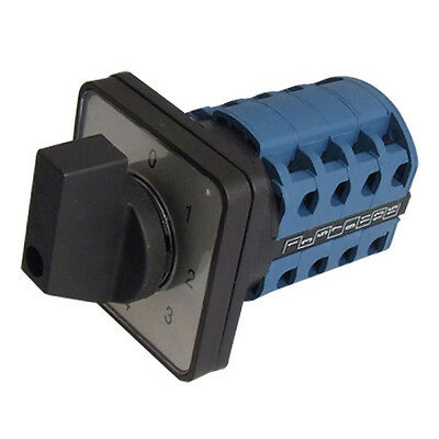 LW28-20 Ui 380V 5 Positions 16 Terminals Changeover Cam Switch Black+Blue HY