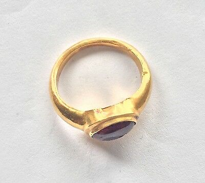 Roman Gold Finger Ring with Carnelian Intaglio