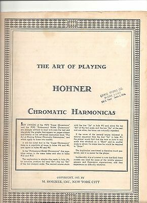 """1937""""The Art Of Playing"""" HOHNER CHROMATIC HARMONICAS  M. HOHNER INC NYC BOOK"""