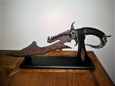 Tibetan Kung Fu Mystic Dragon Dagger with Display Stand