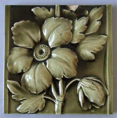 AETCO Floral Tile American Encaustic Victorian Flower Ohio Art Pottery Fireplace