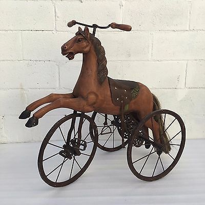 Vintage Hand Carved Wooden Horse, Tricycle Velocipede Horse Iron Wheels