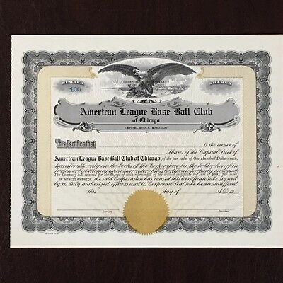 Vintage Stock Certificate Baseball American League Chicago White Sox Comisky
