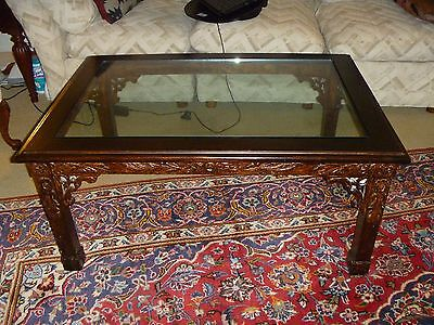 Antique Hand Carved Wood Coffee Table with Tempered Galss Top
