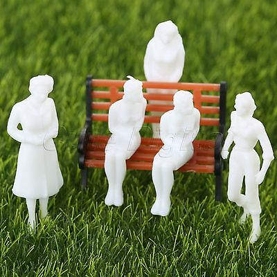 100pcs White Model Train People Figure Passenger HO Scale 1:100 Assorted Pose