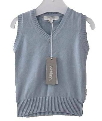 Purebaby Baby Vest Pure 100% Organic Cotton Sweater Clothes Sz 000 New Gift