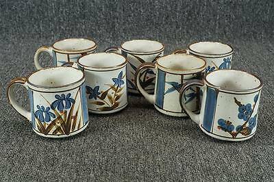 Vintage Lot Of 7 Stoneware Mugs 3 1/2""