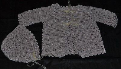 Hand Crochet Baby Matinee Jacket and Bonnet Set