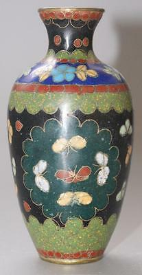 Antique Japanese Cloisonne Small Vase With Butterflies