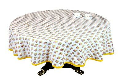 Indian Home Décor Cotton Floral Print 70 Inch Round Tablecloth 4 Seater