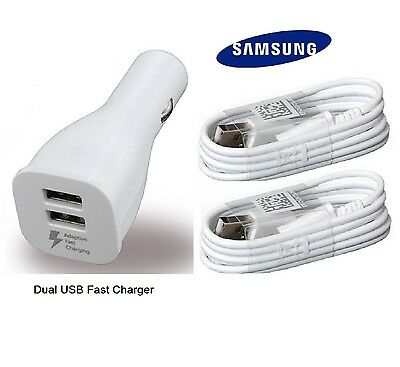 Lot OEM Samsung Galaxy S8 plus Car Charger Dual USB Adapter Type C Cable White