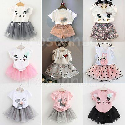 2PCS Kids Baby Girls Princess Outfits T-shirt Tops+Tutu Skirt Dress Clothes Set
