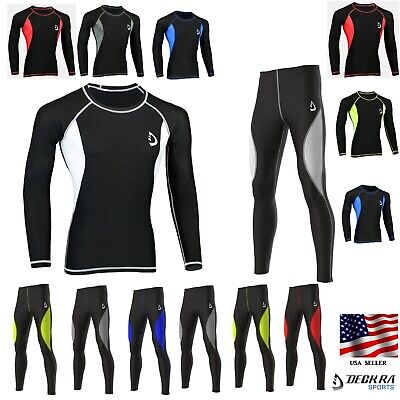 Deckra Mens Compression Tight Base Layer Under Armour Skin Fit Shirt, Pants, Set