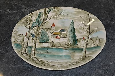 Vintage Johnson Bros Dream Town Platter 1950s Made In England Hand Engraved