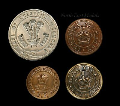 Four Yeomanry Buttons Including Earl of Chesters Yeomanry