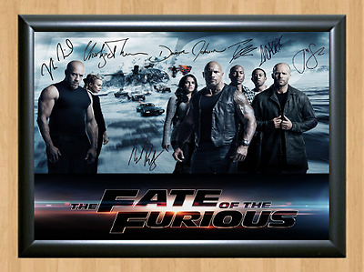 Fate of the Furious Fast 8 Cast Signed Autographed A4 Photo Poster Memorabilia 3