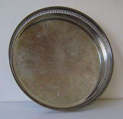 Tray Silver Drinks Plated Vintage Serving Plate Round Chased Antique Gallery