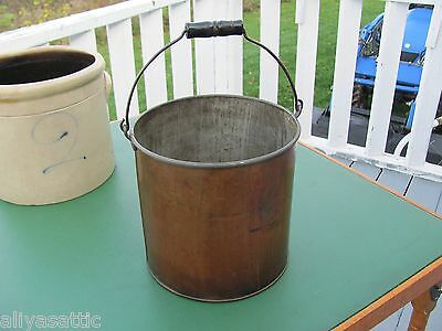 Antique COPPER Flat Bottom Kettle with Wood Bail Handle