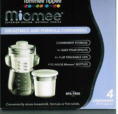 Tommee Tippee Miomee Breast Milk and Formula Containers 4 Pack + Lids BPA FREE