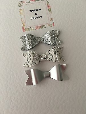 Set of 3 Small Bow Hair Clips - Baby Infant Toddler Hair Clips. Baby Shower Gift
