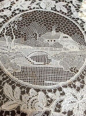 Antique BURANO  Italian Point Venice LACE Figural Doilie  Water Mill Hand Made