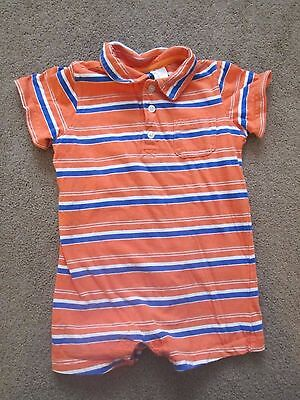 Boys size 24 months, orange, blue, white striped one piece summer shorts outfit
