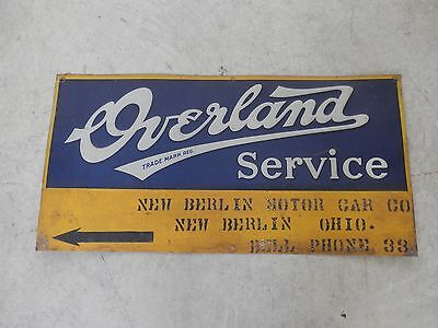 Old Automotive Overland Service Dealer Sign  From Early 1900's
