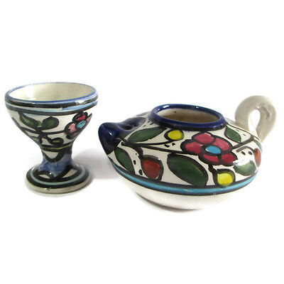 Candlestick Armenian Ceramic Hand Painted Antique 2 Candle Holders Vintage