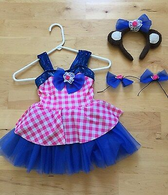 Girls dance party dress  play dress-up teddy bear picnic costume size 4-6Y