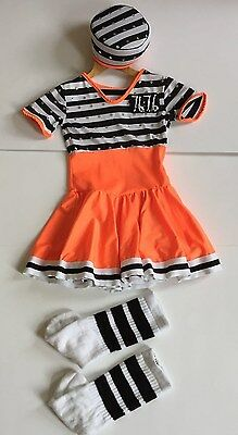 Girls Halloween dance Stripes Convict Prisoner Inmate dress up Costume size 4-6Y