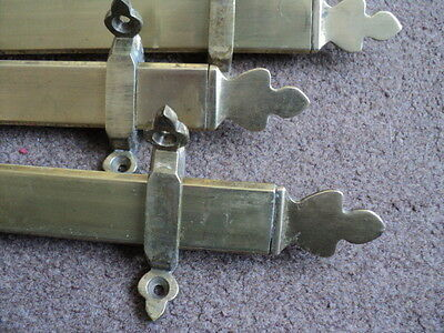 Set 15 Antique Brass  Stair Rods And 28 Brackets  All Solid Brass