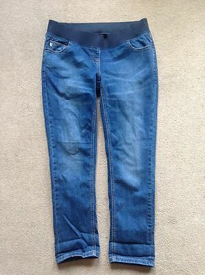 BNWT NEXT Dark Blue Relaxed Skinny MATERNITY Jeans Under Bump Size 18 Long 30""
