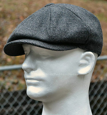 GREY WOOL TWEED GATSBY CAP Men Newsboy Ivy Hat Golf Driving Flat Winter Cabbie