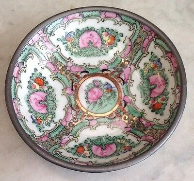 Vintage Famille Rose CHINESE Hand Painted Porcelain Bowl Pewter Encased