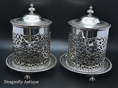 SUPERB Antique Atkin Brothers Silver Plated Fretwork Pair of Canisters & Cover