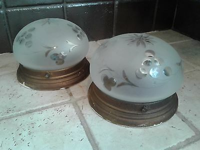 Vintage Pair Of Frosted Glass Brass Base Ceiling Light Fixtures