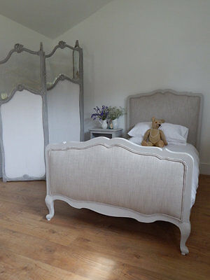 Antique single french bed with new upholstery and slat base