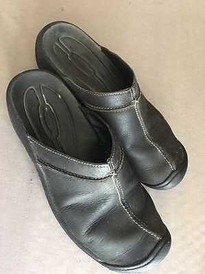 KEEN Women's Black Leather Mules Shoes Size 9.5